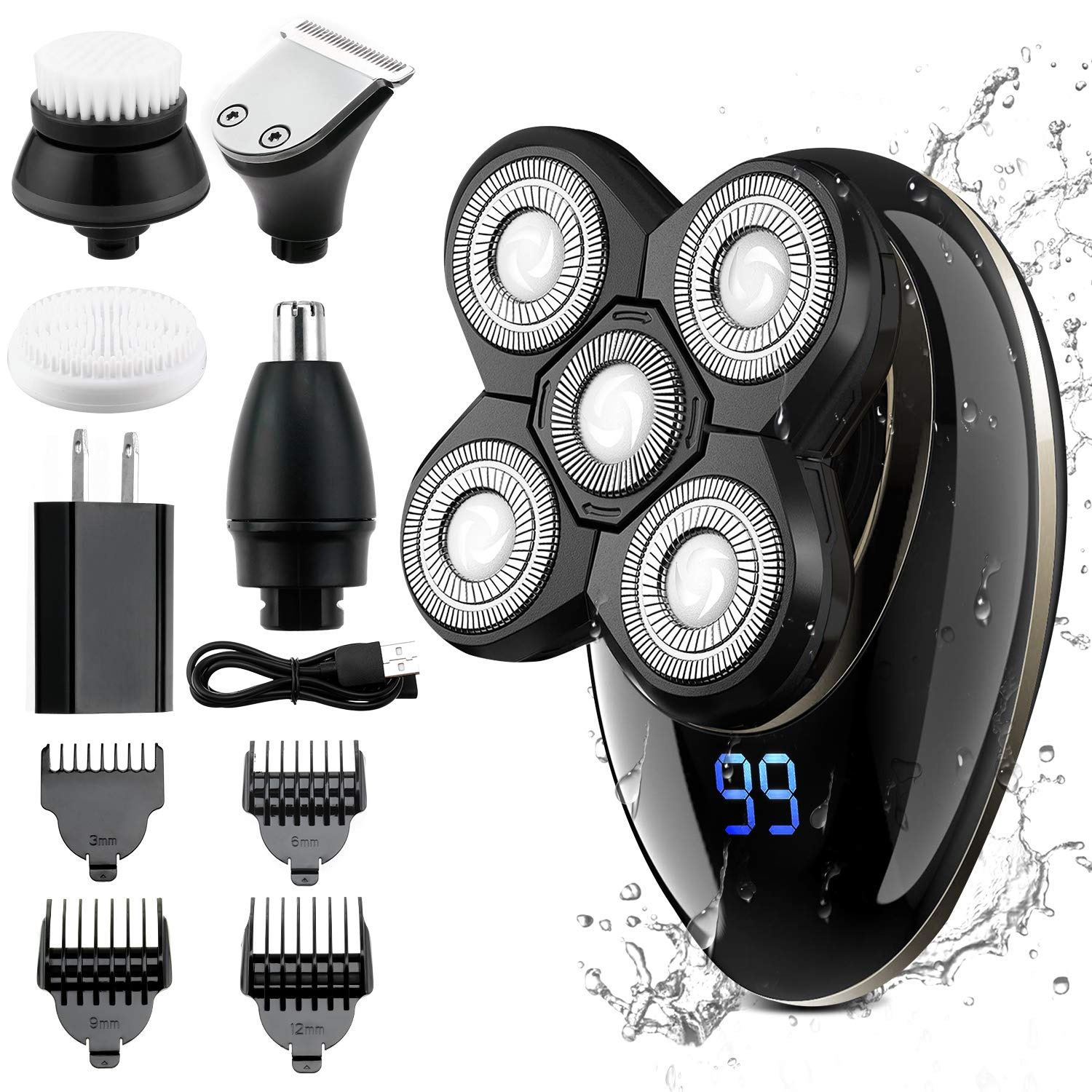 Electric Shaver for Men Grooming Kit, GOOLEEN 5 in 1 Electric Razor Cordless Waterproof Wet Dry Rotary Bald Head Shaver Nose Trimmer Hair Clippers Facial Cleansing Brush LED Display USB Rechargeable
