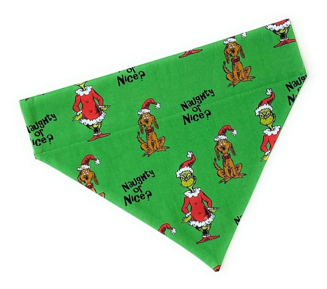 Dog Scarf Bandana-Grinch and Max-Christmas-Handmade-no tie slides over collar-Size Large
