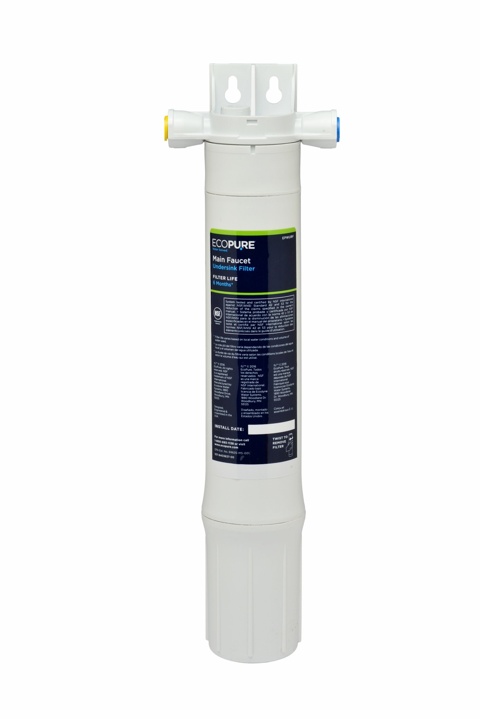 EcoPure Main Faucet Under Sink Water Filtration System (EPWUFF) | NSF Certified | No Additional Faucet Required | Cleaner Water from Your Existing Kitchen or Bath Faucet by EcoPure