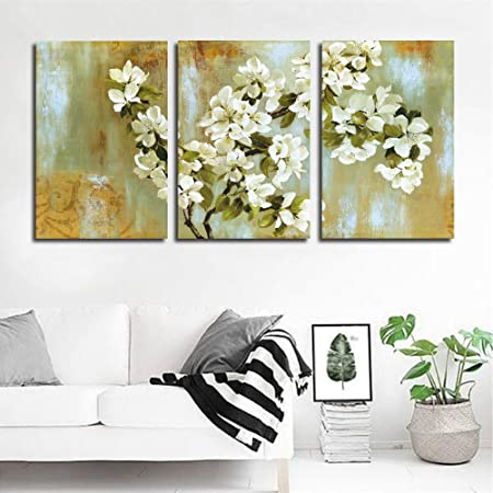 DXYJUYI Giclee Prints Oil Paintings On Canvas Pink Flower Trees Paintings Modern Home Wall Decoration Abstract Artwork 3 Panels Landscape Paintings 40x60cmx3pcs, 16X24inchesX3 , 3