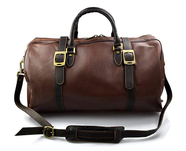 2ab1f1d9d3dc Duffle bag genuine leather travel bag shoulder bag brown mens ladies ...