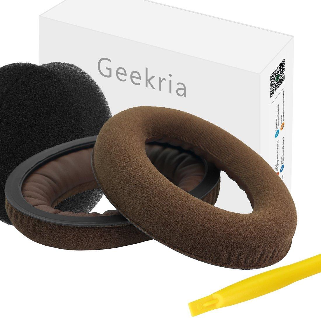 Geekria Earpads for Sennheiser HD598, HD598SE, HD598CS, HD515, HD555, HD595, HD518 Headphones Replacement Ear Pad / Ear Cushion / Ear Cups / Ear Cover / Earpad Repair Parts (Dense Velvet Brown) EJZ133-02