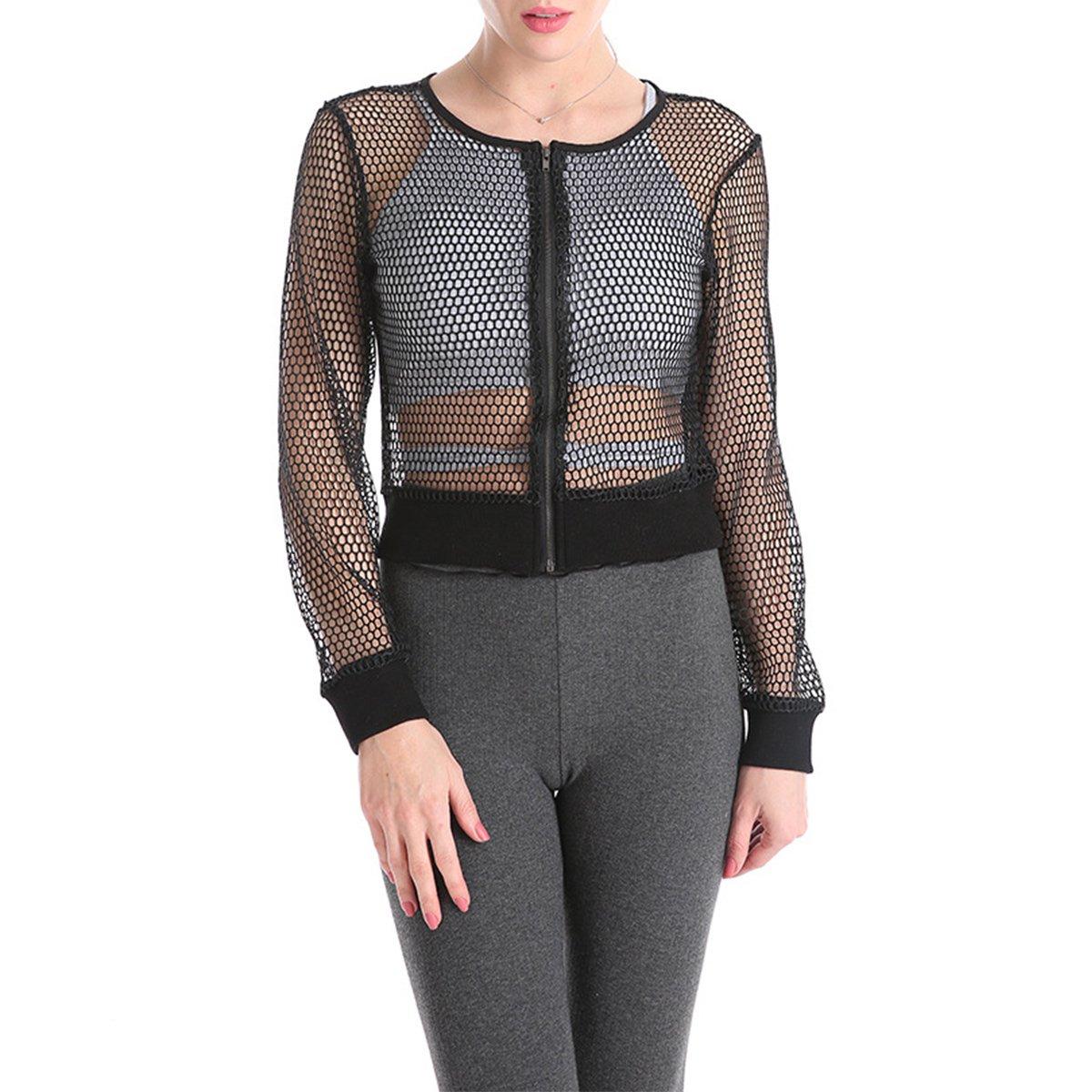 Yogurt Women Fishnet Coat Sheer Mesh Long Sleeve Zipper Short Bomber Jacket Size L (Black)