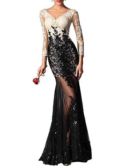 FASHION DRESS Black and white deep V sexy prom dress floral arrangements 2