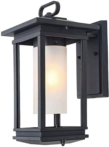 LOG BARN Large Exterior Light Fixtures Outdoor Wall Lantern Sconce for Porch, Doorway, Garden, Garage and Courtyard 8.9 L x 7.1 W x 13.8 H , Black