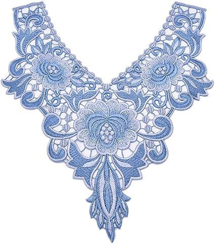 Applique Floral Embroidery Lace Trim Clothes Sewing Patch DIY Neck Collar Decor