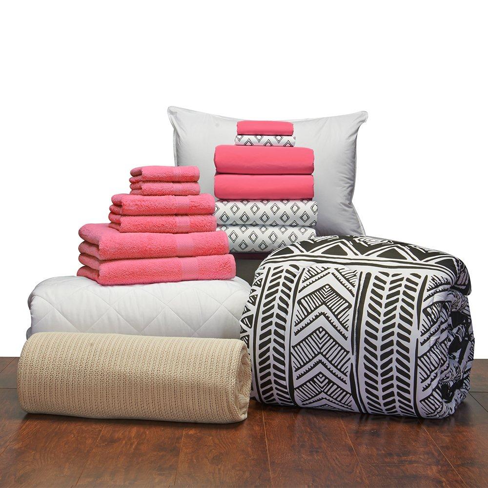 16 Piece Starter Pak Deep Pink Leilani Twin XL College Dorm Bedding and Bath Set