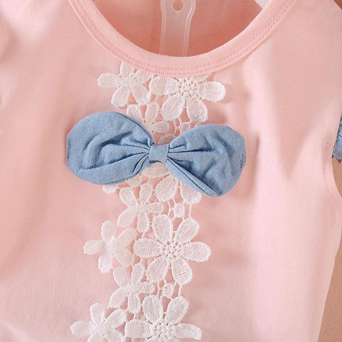 Fabal Baby Girls Bowknot Lace Vest T-Shirt+Shorts Outfits Clothes Set