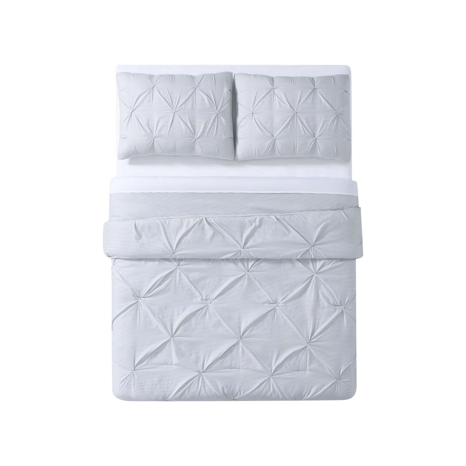 Truly Soft DCS2330GYFQ-00 Printed Pleat Duvet, Twin/Twin XL, White/Grey