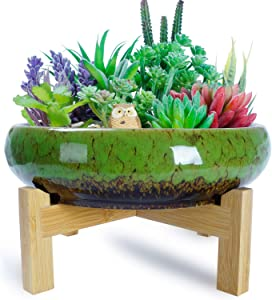 ARTKETTY 10 Inch Large Round Succulent Planter Bowl with Stand, Vintage Ceramic Glazed Bonsai Pot with Mess Drainage Screen, Decorative Garden Cactus Flower Plant Container for Home/Office Decor