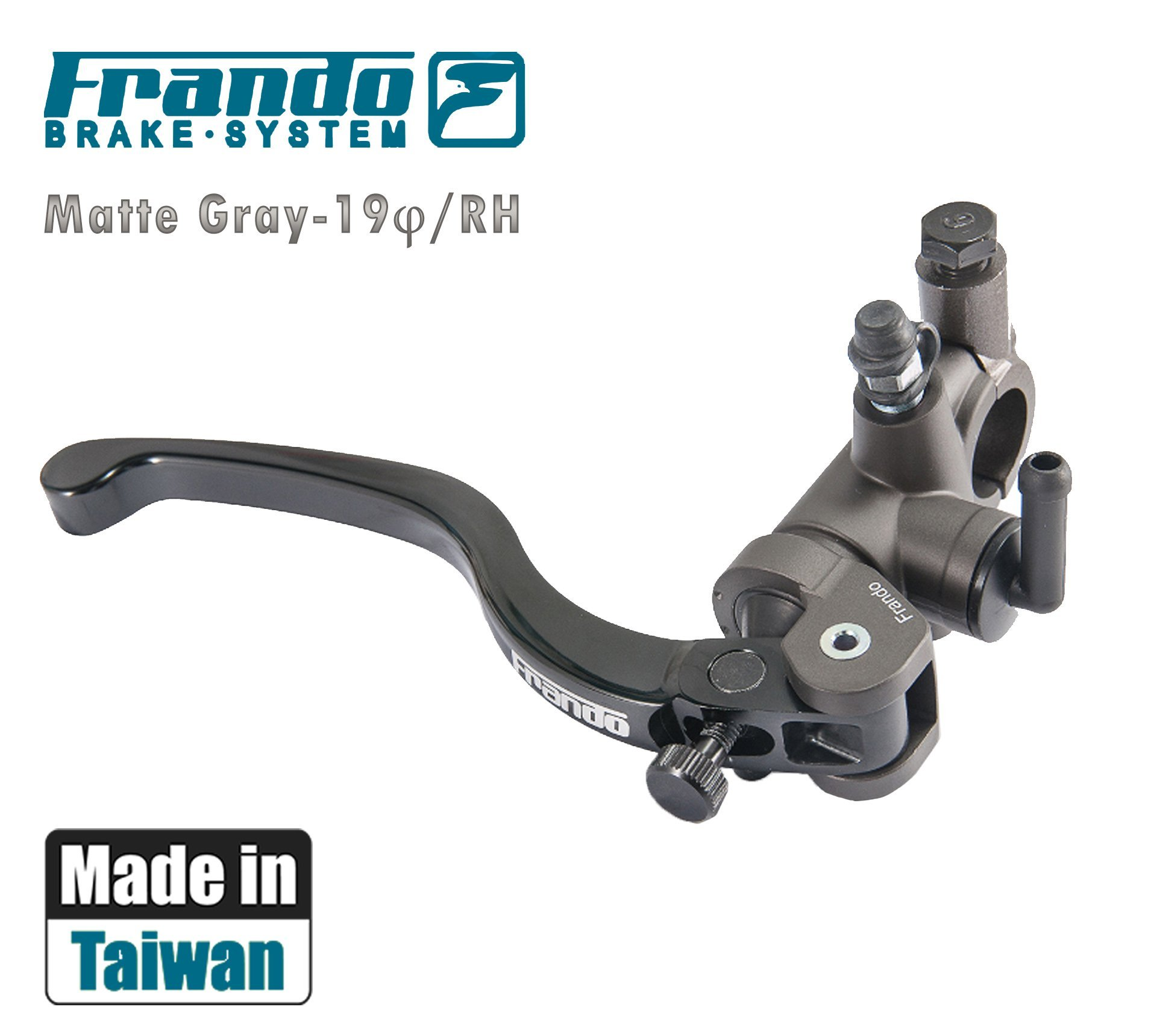 Frando 7NB Motorcycle Hydraulic Front Dual Brake Master Cylinder (DarkGray), Piston Dimension: 19mm, 30 Sections Adjustable CNC Lever, Fluid Reservoir Kit