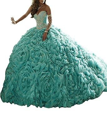 BaoSai Womens Sweet 16 Long Ball Gown Vestidos 15 Beading Quinceanera Dresses 0 US Green