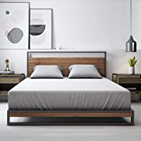 Zinus Suzanne Double Metal and Pine Wood Platform Bed Frame with Headboard | Mattress Base Support Wooden Slat Black Steel Ironline Industrial