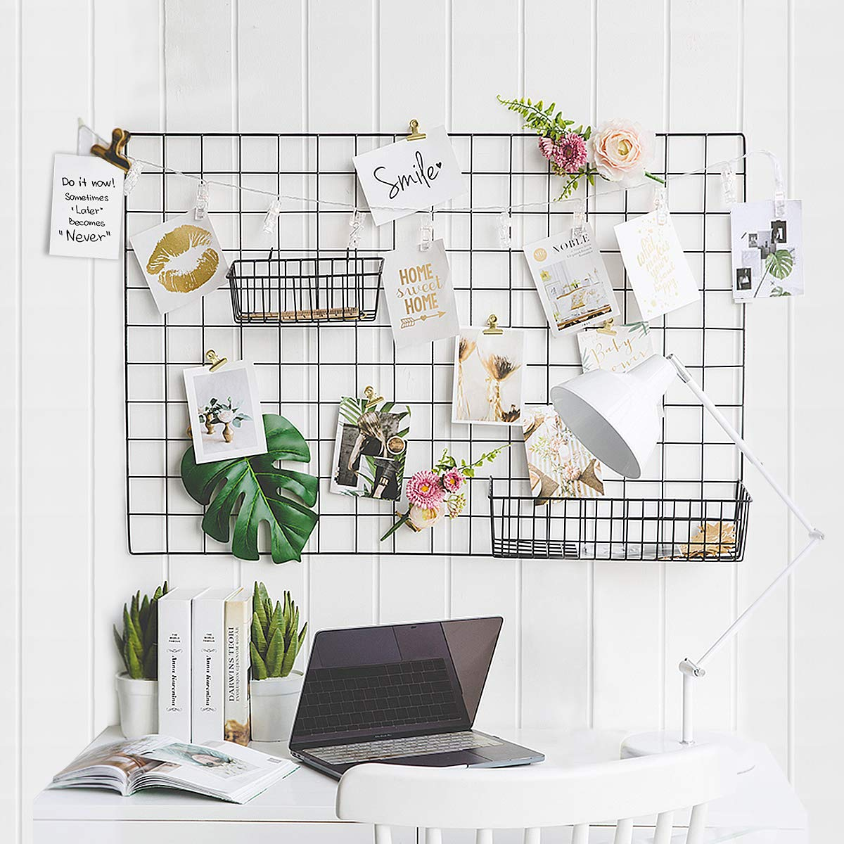 GBYAN Grid Wall Panel Decorative Iron Rack Clip Photo Holder, Painted Wire Photograph Hanging Picture Multifunctional Hanging Display Wall Storage Organizer,25.6'' x17.7'' (2 Pack) (Black Rectangle) by GBYAN