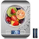 Digital Kitchen Scale, Ultra Slim/Multifunction Food scales, Stainless Steel Weight Scale with Large Display for Cooking & Baking, 11lb/5kg (Batteries Included)