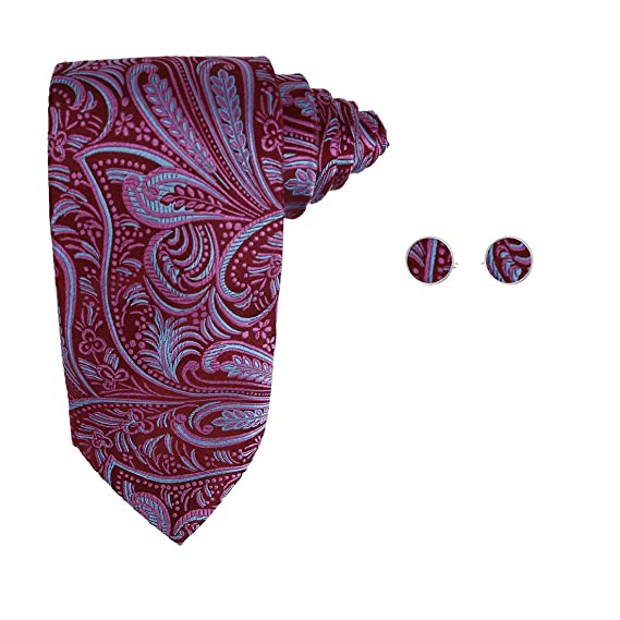 A2096 purple blue paisley birthday gift ideas man silk tie cufflinks Y/&G