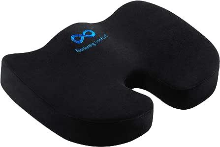Everlasting Comfort Seat Cushion for Office Chair - Tailbone Cushion - Coccyx Cushion - Sciatica Pillow for Sitting (Black)