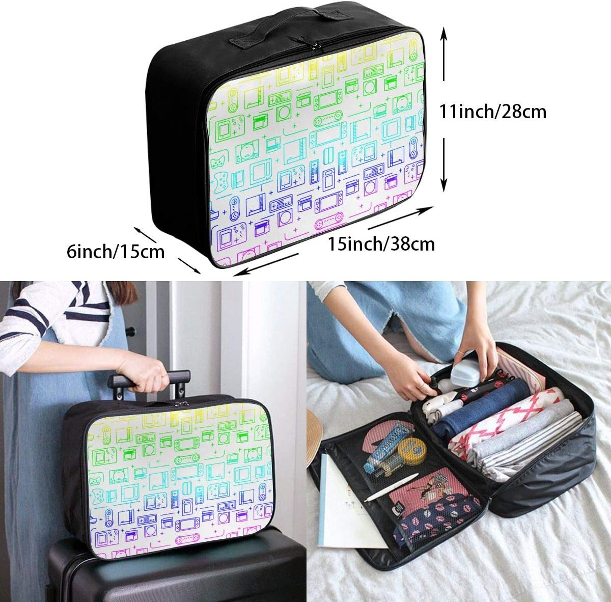 Rainbow Gamer Travel Carry-on Luggage Weekender Bag Overnight Tote Flight Duffel In Trolley Handle