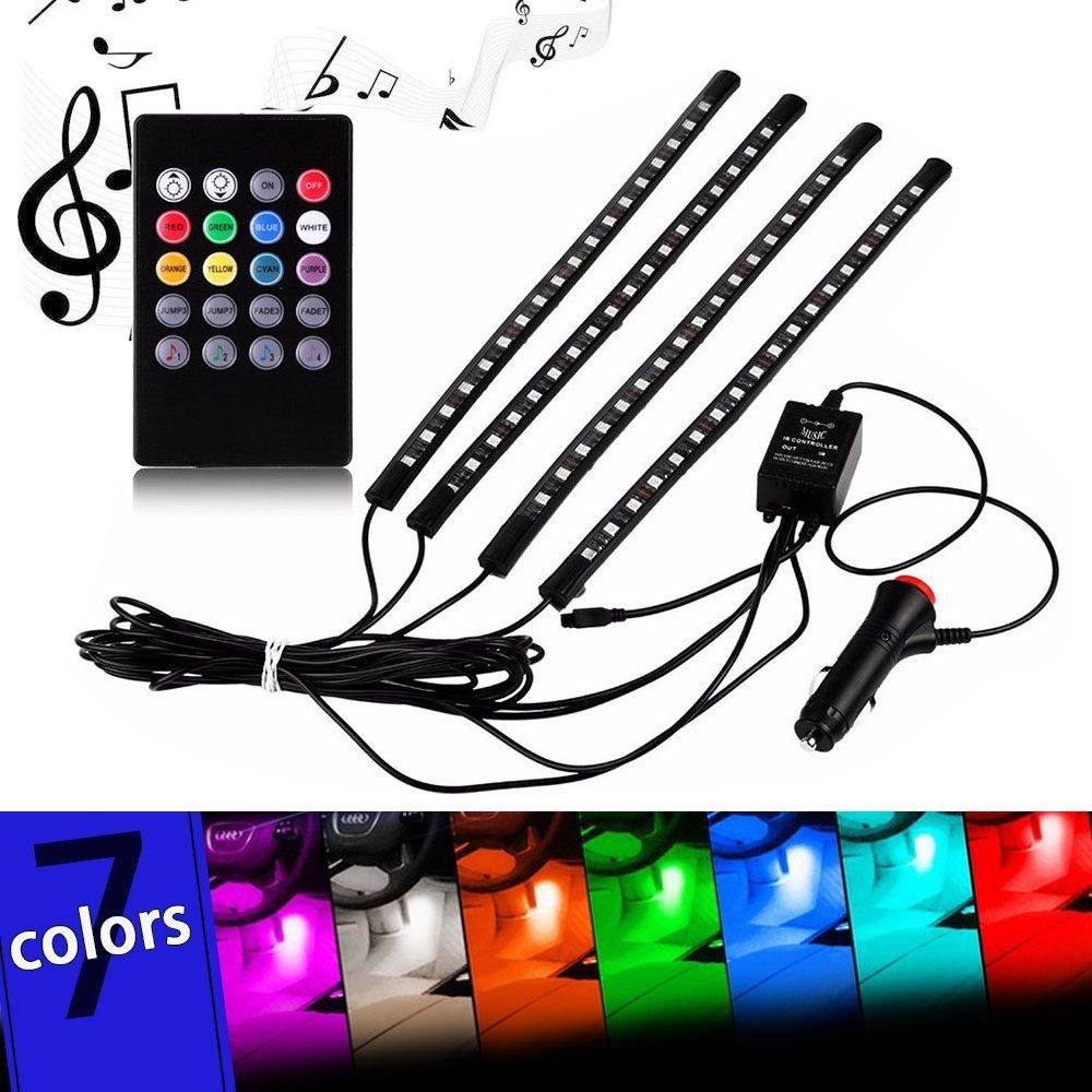 iRoundy 7 Couleur 72 LED RGB pour Éclairage Intérieur de Voiture Décoration Lampe bandeau Lumineux Néon étanche Lampe Bande Strip avec Activation sonore Fonction et Télécommand