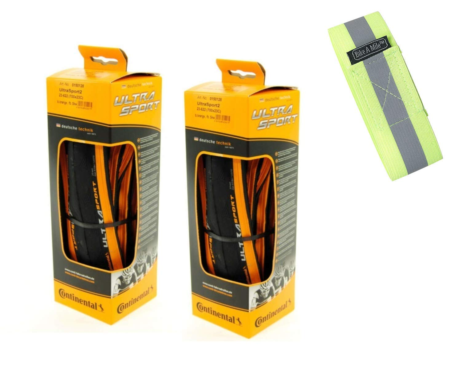 Bike A Mile Continental Ultra Sport II Road Bike Tires Folding Bike Tire Set of Bicycle Tires - with Reflective Armband (2 Orange Tires + Reflector, 700 x 25mm) by Bike A Mile
