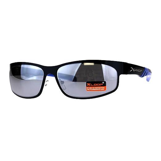 f61728569c Mens Silver Mirror Xloop Rectangular Metal Warp Sport Sunglasses Black Blue