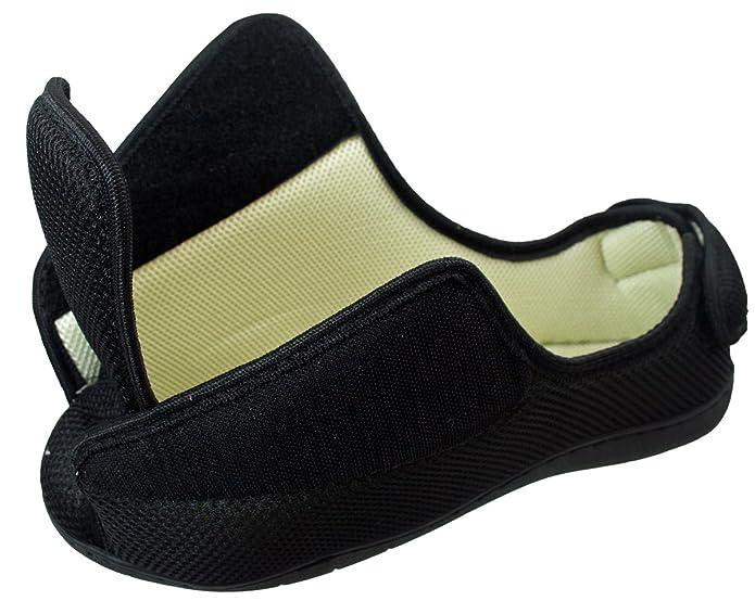 Hombre Mujer Muy Ancho E/5e FIT Ajuste Espuma viscoelástica Transpirable Cierre Adhesivo Zapatillas - Negro Puntera Abierta, 7 UK (EU 41)
