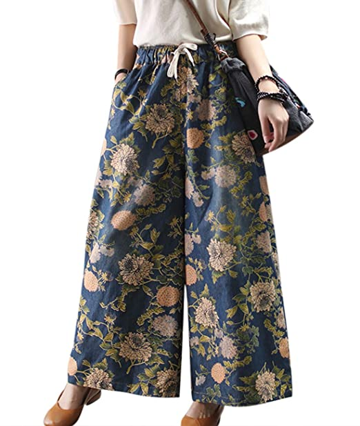 YESNO Women Casual Loose Wide Leg Cropped Denim Pants Light Weight Flower Printed Elastic Waist/Pockets PJE
