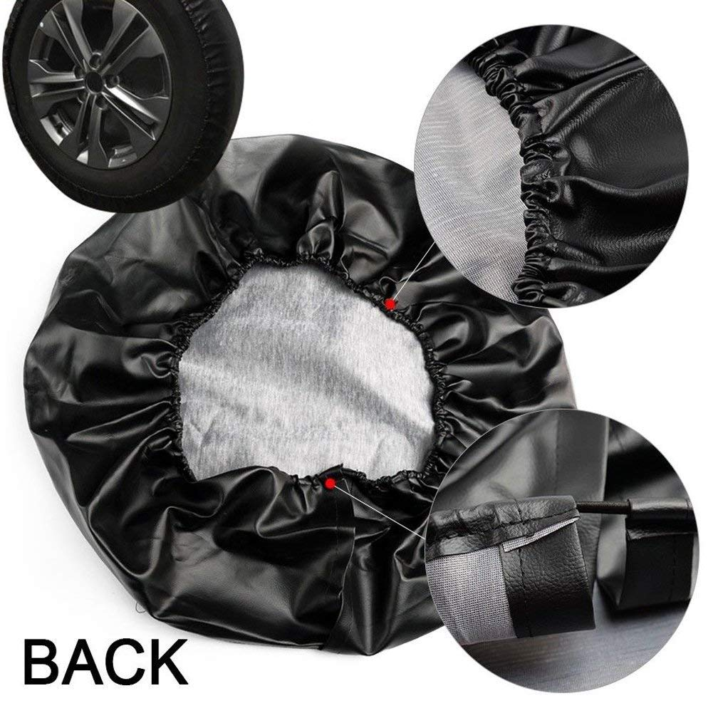 Jeep Spare Tire Cover EIGIIS Leather WaterProof Dust-proof Thicken jeeps Wheel Protectors Covers Fit 16-17 Inch Jeep Wrangler Liberty