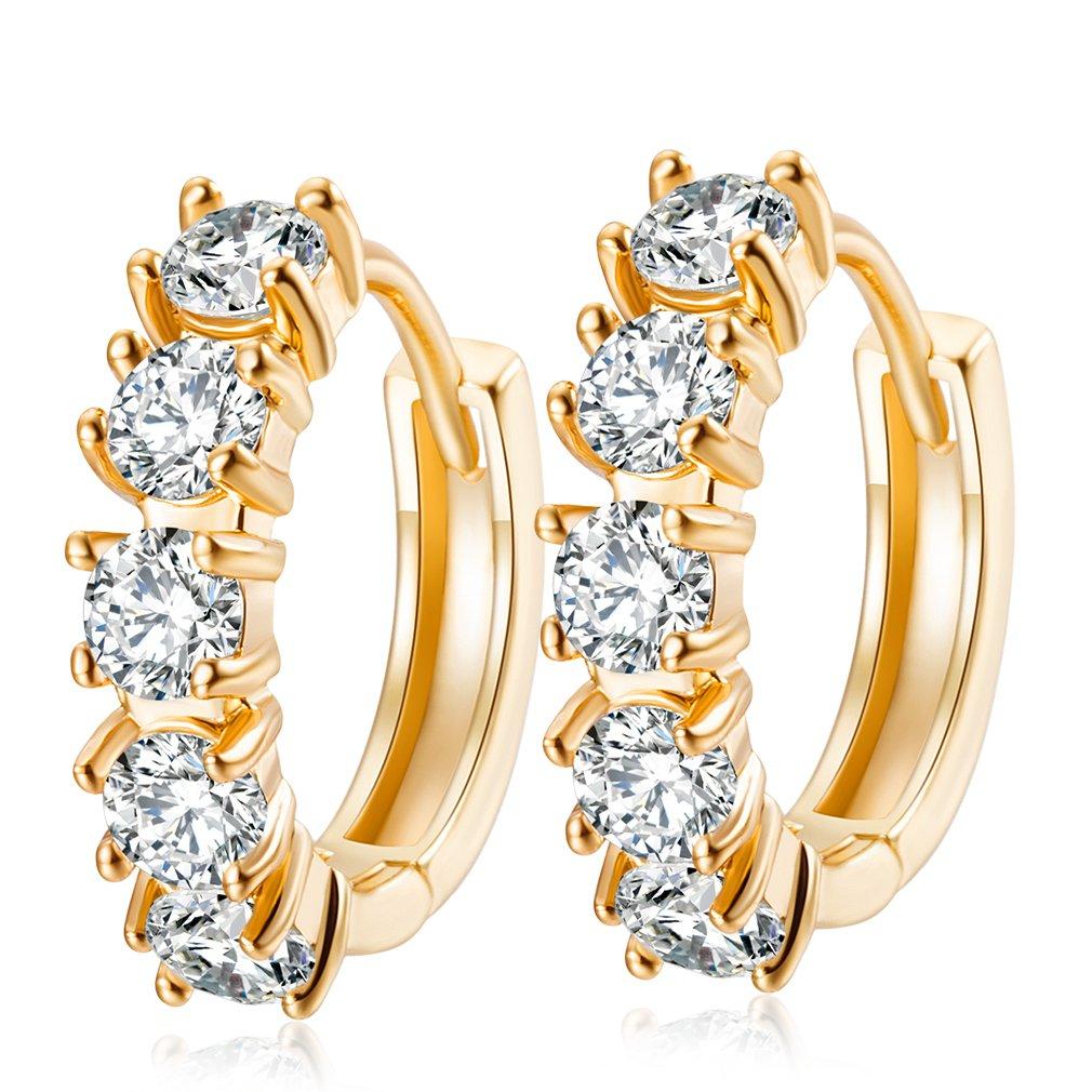 YAZILIND 18K Gold Plated Jewelry Exquisite Round Earring Hoop Huggie Earrings for Women Cubic Zirconia Crystal Element Wedding Jewelry YAZILIND JEWELRY LTD 1076E1375