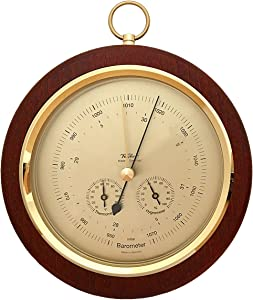 """Fischer Barometer Pascal with Thermometer °F & Hygrometer, 7.9""""/200 mm - 1694R-22 (US Version)"""