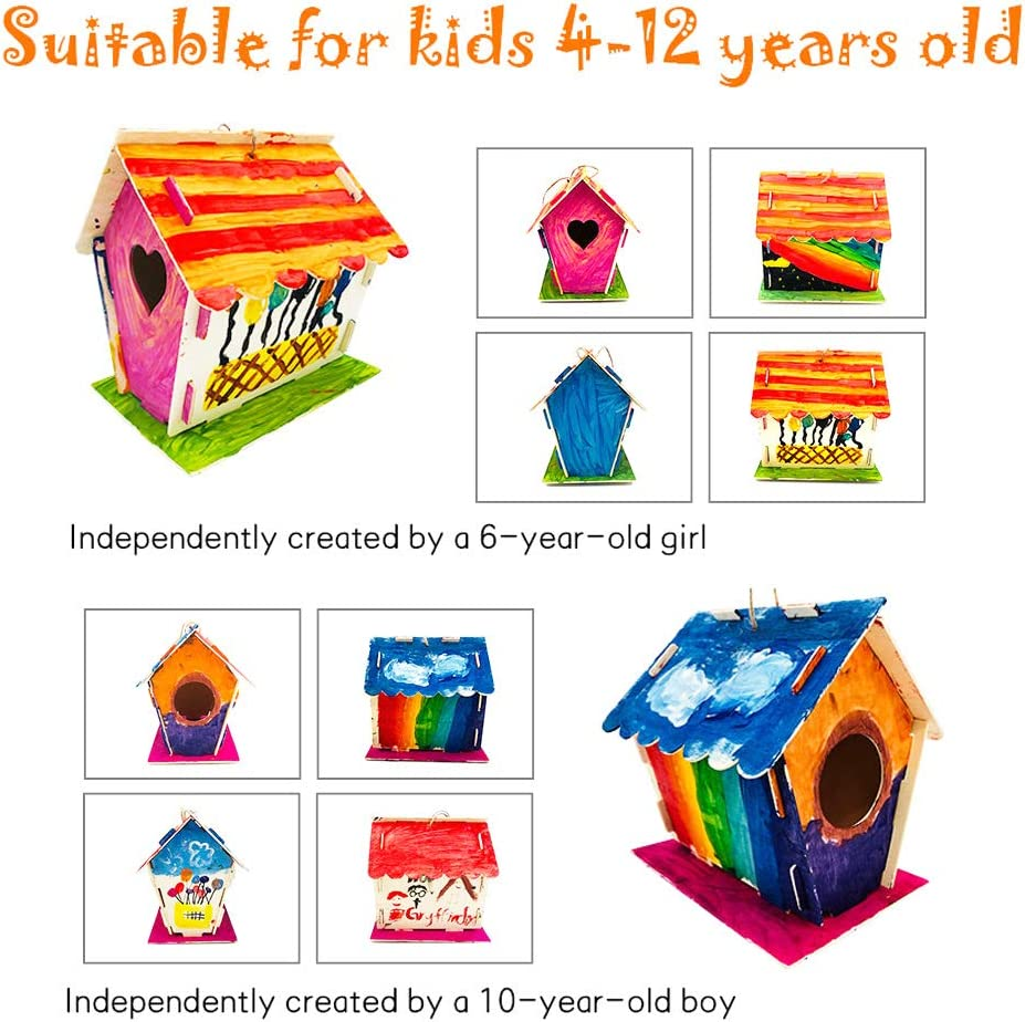 Kids Arts and Crafts Ages 2-5 4-8 8-12 Paints, Brushes, palettes Included N-A Bird House Kit Crafts for Girls Ages 8-12 2Pack DIY Wooden Birdhouse Kit Arts and Crafts for Kids 2-4