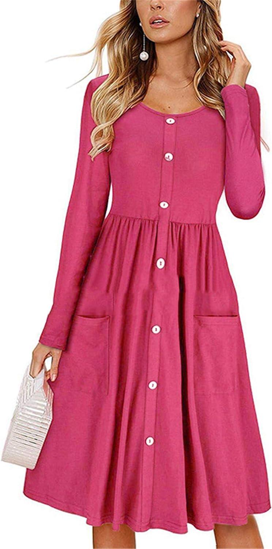 Andongnywell Womens Cute Long Sleeve Button Down Loose Fit Ruffle Mini Dresses
