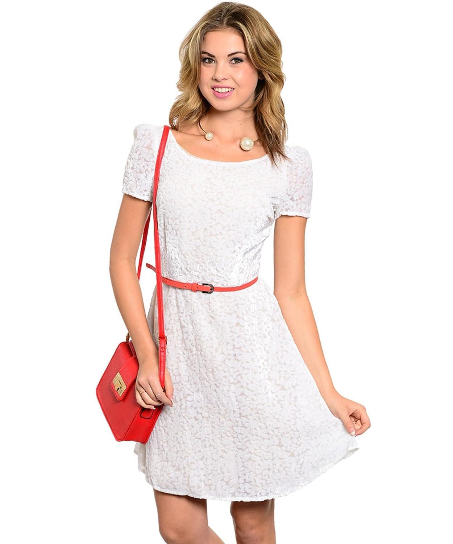 Partykleid / Abendkleid / Frühlingskleid / Sommerkleid von ark & co aus weichem Samt mit Gürtel - creme