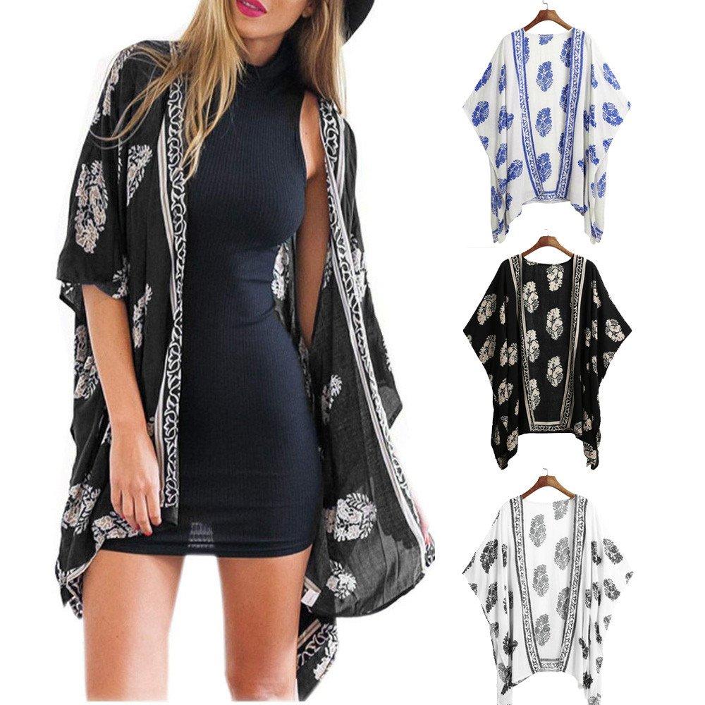 JiaMeng Mujeres Encapuchados Chaqueta de Abrigo Largo Blusa de la Blusa con Estampado Floral de la Rebeca del Kimono del Chal Flojo de la Playa: Amazon.es: ...