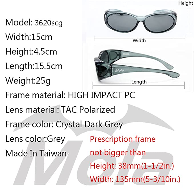 84000a9038 MOLA polarized sunglasses over prescription glasses small men women fishing  driving Grey  Amazon.co.uk  Clothing