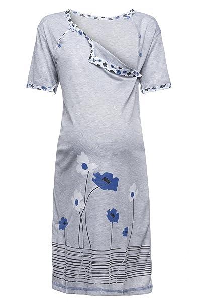 Para Mujer Camisón flores premamá de embarazo y lactancia. 211p (Azul