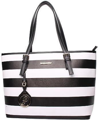 81700038139c0 Gallantry Paris Shopper Tasche Damen Schwarz Weiß gestreift Handtasche  Schultertasche