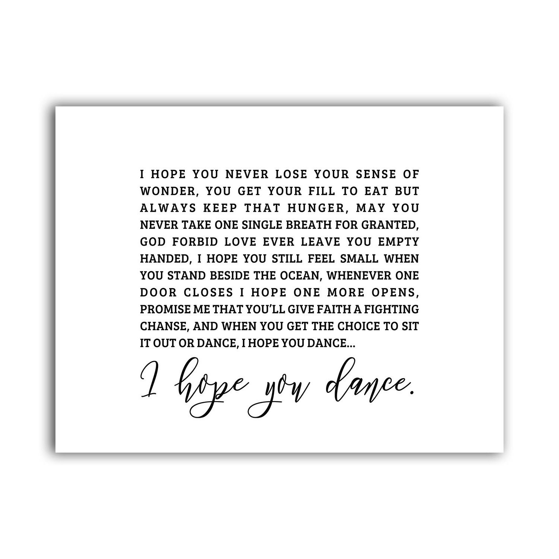 I Hope You Dance Lyrics Famous Quote Poster Decor, Minimalistic Saying Wall Art Gift, Rustic Scandinavian Fine Prints, Typography Print Sign, Inspirational Motivational Large Artwork 8.5x11