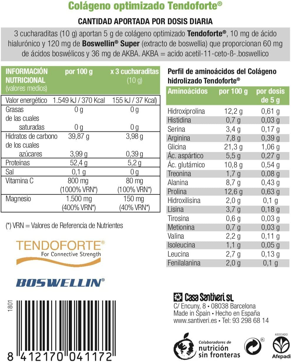 Colágeno Dynamic Tendo en polvo de Santiveri (230 gr): complemento alimenticio a base de colágeno optimizado, ácido hialurónico, extracto de Boswellia ...