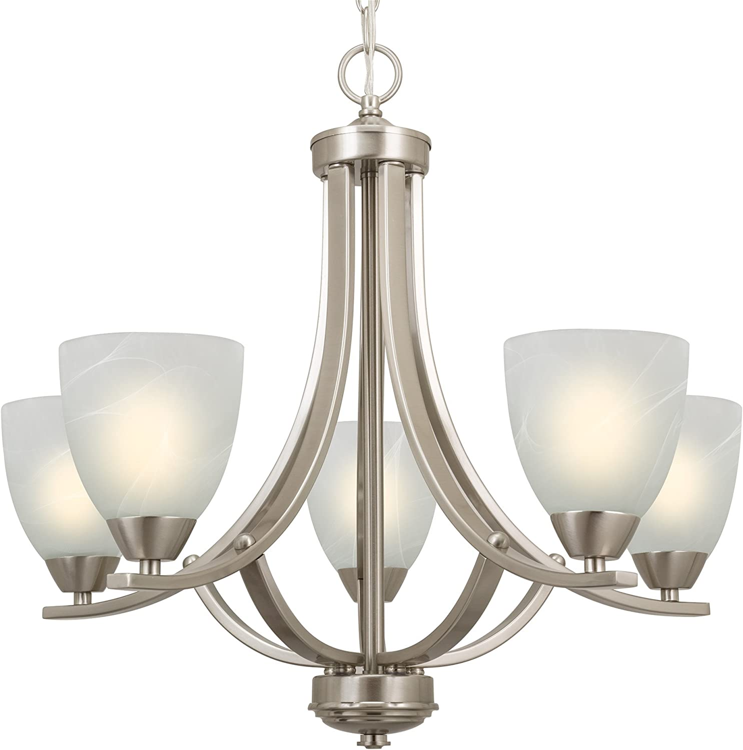 "B01M7PWXLD Kira Home Weston 24"" Contemporary 5-Light Large Chandelier + Alabaster Glass Shades, Adjustable Chain, Brushed Nickel Finish 71GK9voio-L"