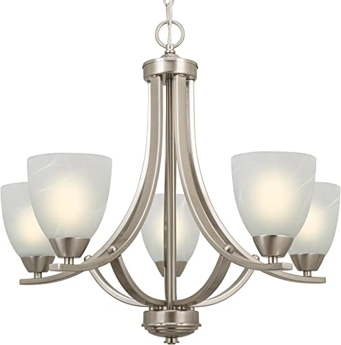 Kira Home Weston 24 Contemporary 5-Light Large Chandelier Alabaster Glass Shades, Adjustable Chain, Brushed Nickel Finish