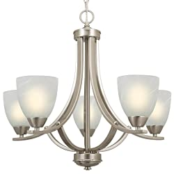 "Kira Home Weston 24"" Contemporary 5-Light Large Chandelier, Alabaster Glass Shade, Adjustable Wire, Brushed Nickel Finish"