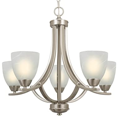 Kira Home Weston 24  Contemporary 5-Light Large Chandelier + Alabaster Glass Shades, Adjustable Chain, Brushed Nickel Finish