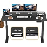 FEZIBO Electric Height Adjustable Standing Desk, 63 x 24 Inches, Black Frame/Black Top