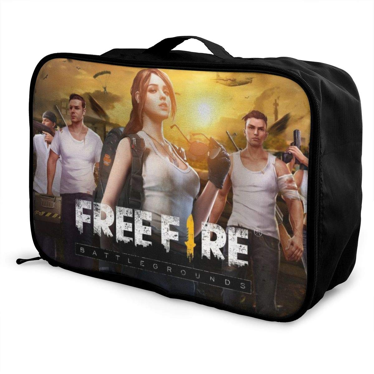 F-ree F-ire Personalize Design Waterproof Portable Trolley Handle Luggage Bag Travel Bag