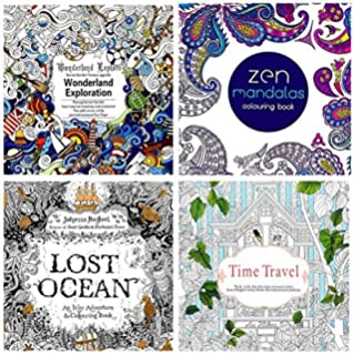 Amazon.com: Set of 4 Mini Coloring Books for Adult Relaxation ...