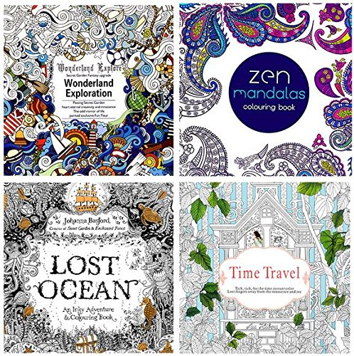 Lome-Ty 4 Design/lot Adults Coloring Books Mini Secret Garden/Lost Ocean/Time Travel/Zen Mandalas 24 Pages Kids Painting Drawing Stress Relieve Colouring Books …