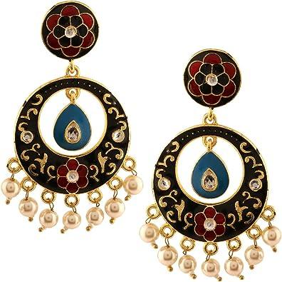 Efulgenz Indian Bollywood 14K Gold Plated Crystal Kundan Pearl Leaf Floral Chandelier Dangle Earrings Jewelry Set
