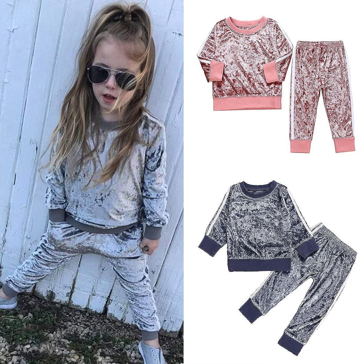 DaMohony leggings per neonati e bambini colore: rosa a maniche lunghe Set di 2 vestiti alla moda per bambine pantaloni superiori