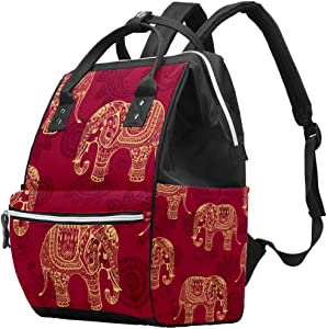Elephant Cashew Flowers Vintage Pattern Diaper Bag Laptop Backpacks Notebook Rucksack Travel Hiking Daypack for Women Men